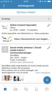Volgorde vrijwilligerswerk LinkedIn aanpassen